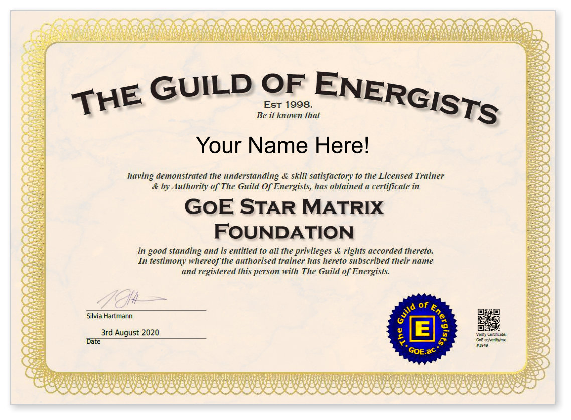 Star Matrix Foundation Certificate Sample